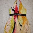 BCBG silk halter tie sundress bubble hem beads at waist sz 2 pink red yellow EUC