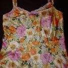 Dana Buchman silk camisole sz 2 floral print pink orange yellow cream green EUC
