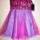 Girls dress Un Deux Trois size 10 turquoise fuchsia metallic top tulle skirt NWT