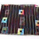 "Chicos oblong scarf ""pigment"" black with rainbow ombre squares and lines NWT"