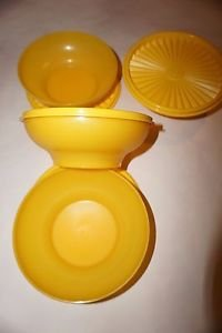 Tupperware Servalier salad cereal bowls yellow set 4 bowls & seals 16 oz new