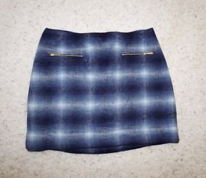 Kate Spade Transcontinental Express zip pocket mini skirt 12 blue gray plaid NWT