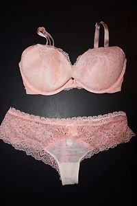 Victoria's Secret padded demi gel cups bra 32DD cheeky sz S peach white lace NWT