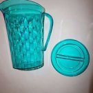 Tupperware Ice Prisms 2 quart pitcher with seal turquoise teal green new
