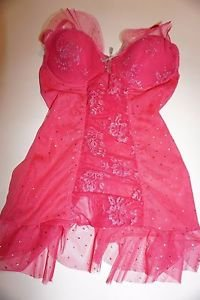 Victoria's Secret Sexy Little Things 34B bustier teddy pink silver bling NWT