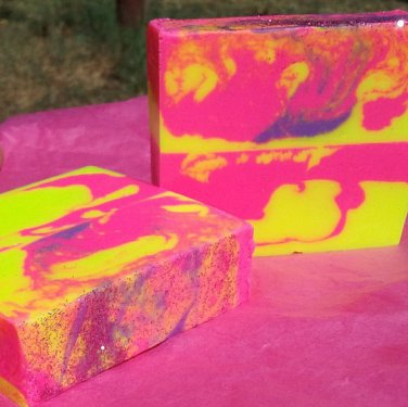 Neon Honeysuckle Handmade Bar Soap. Made With Cocoa, Shea and Avocado Butters