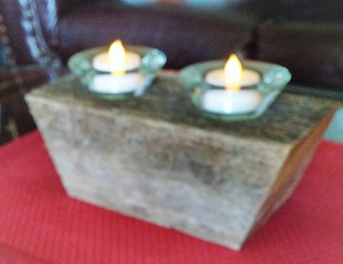 Wood Double Votive Holder With Angled Base