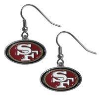 NFL San Francisco 49ers Dangle Earrings Hand Colored Enameled Logo Nickel Free