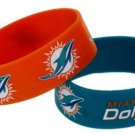 Miami Dolphins Rubber Bracelets 2 Pack Silicone Wristbands OSFM Licensed New