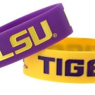 LSU Tigers Rubber Bracelets 2 Pack Silicone Wristbands OSFM Licensed New