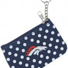 NFL Denver Broncos Coin ID Purse Polka Dot Keychain Keyring Zippered New
