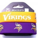Minnesota Vikings Rubber Bracelets 2 Pack Silicone Wristbands OSFM Licensed New