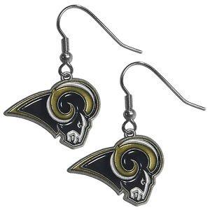 NFL St. Louis Rams Dangle Earrings Hand Colored Enameled Logo Nickel Free
