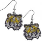 LSU Tigers Dangle Earrings Hand Colored Enameled Logo Nickel Free