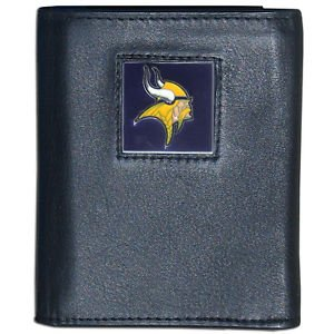NFL Minnesota Vikings Trifold Wallet Genuine Fine Grain Leather Authentic New