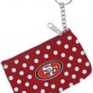 NFL San Francisco 49ers Coin ID Purse Polka Dot Keychain Keyring Zippered New