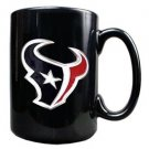 NFL Houston Texans 15oz Black Ceramic Mug Handcrafted Emblem Coffee Licensed New