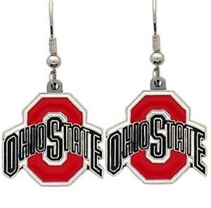 Ohio State Buckeyes Dangle Earrings Hand Colored Enameled Logo Nickel Free