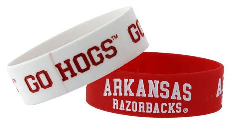 Arkansas Razorback Rubber Bracelets 2 Pack Silicone Wristbands OSFM Licensed New