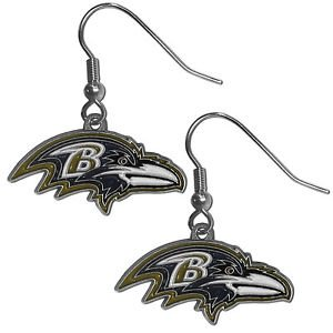 Baltimore Ravens Dangle Earrings Hand Colored Enameled Logo Nickel Free