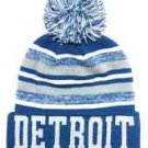 Detroit City Beanie Color PomPom Hat Winter Knit w POM Ribbed Cuff
