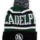 Philadelphia City Patch Beanie Color PomPom Hat Winter Knit w POM Ribbed Cuff