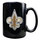 New Orleans Saints 15oz Black Ceramic Mug Handcrafted Emblem Coffee Licensed New