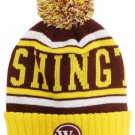 Washington City Patch Beanie Color PomPom Hat Winter Knit w POM Ribbed Cuff