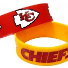 Kansas City Chiefs Rubber Bracelets 2 Pack Silicone Wristbands OSFM Licensed New