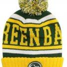 Green Bay City Patch Beanie Color PomPom Hat Winter Knit w POM Ribbed Cuff