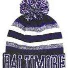 Baltimore City Beanie Color PomPom Hat Winter Knit w POM Ribbed Cuff