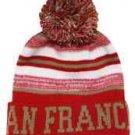 San Francisco City Beanie Color PomPom Hat Winter Knit w POM Ribbed Cuff