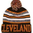 Cleveland City Beanie Brown Color PomPom Hat Winter Knit w POM Ribbed Cuff
