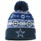 NFL Dallas Cowboys New Era Retro Chill Knit Hat Pom Pom Cuffed Authentic Field