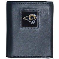 NFL St. Louis Rams Tri-fold Wallet Genuine Fine Grain Leather Authentic New