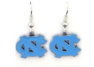 North Carolina Tar Heels Dangle Earrings Hand Colored Enameled Logo Nickel Free