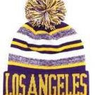 Los Angeles City Beanie Color PomPom Hat Winter Knit w POM Ribbed Cuff