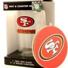 San Francisco 49ers 16-Ounce Pint Glass & 4 Coasters Gift Set Dishwasher Safe