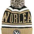 New Orleans City Patch Beanie Color PomPom Hat Winter Knit w POM Ribbed Cuff