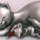 Cat And Mouse Sleeping Christmas JJ Jonette Pewter Pin