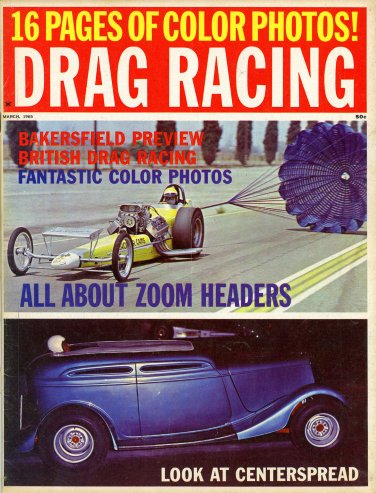 Drag Racing magazine 3 65 top fuel Super Stock March Meet color photos DragBoats