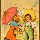 Scull's Coffee Victorian trade card Mint boy and girl Camden New Jersey