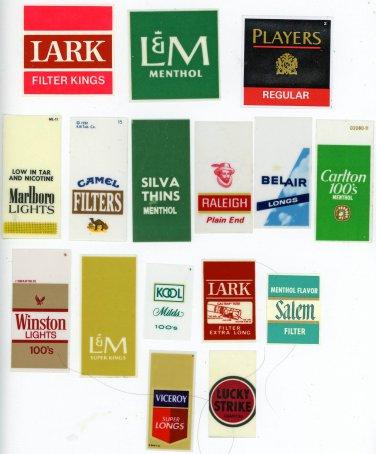 Cigarette vending machine labels 16 pieces  all different brands