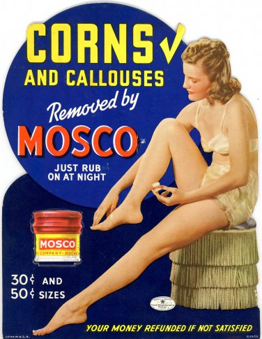 Mosco Corn Remover counter top store display 1939 die cut woman in lingerie