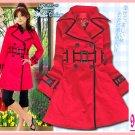 New Japan Stylish Double Breast Black Hem Belt Coat Red L