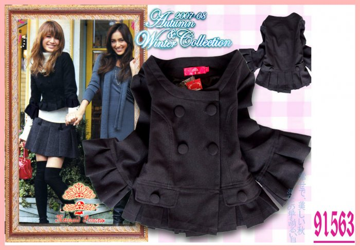 New Japan Elegant Double Breasted Coat Black L