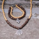 Wooden beads jewelry set, bracelet and two bracelets, kind of classic jewelry