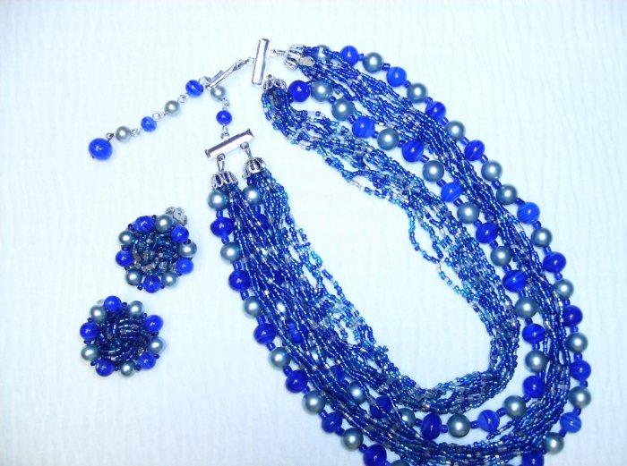 Blue & Silver 18 Strand Vintage Necklace/Earring Set