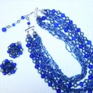 Blue & Silver 18 Strand Vintage Necklace/Earring Set