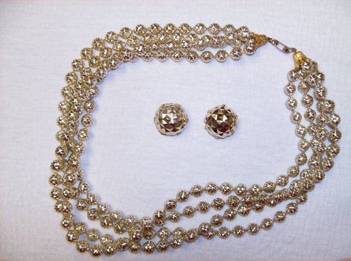 Gold Metallic Bead Vintage Necklace/Earring Set